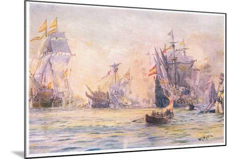 The End of the 'Gentleman Adventurer-The Revenge Captured by Spaniards 1591, 1915-William Lionel Wyllie-Mounted Giclee Print