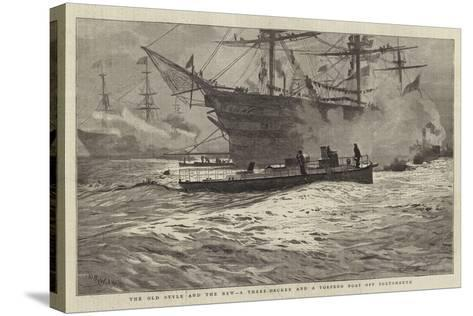 The Old Style and the New, a Three-Decker and a Torpedo Boat Off Portsmouth-William Lionel Wyllie-Stretched Canvas Print