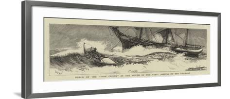 Wreck of the Iron Crown at the Mouth of the Tyne, Arrival of the Life-Boat-William Lionel Wyllie-Framed Art Print