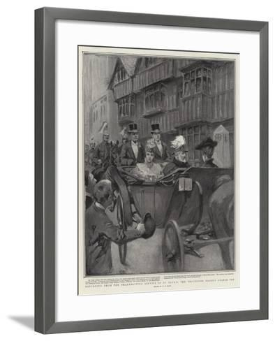 Returning from the Thanksgiving Service in St Paul's, the Procession Passing Staple Inn-William T^ Maud-Framed Art Print