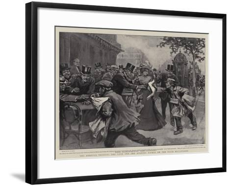 The Dreyfus Verdict, the Rush for the Evening Papers on the Paris Boulevards-William T^ Maud-Framed Art Print