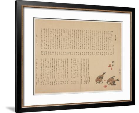 Sparrows and Plum Flowers, 1823-Yokoyama Kazan-Framed Art Print
