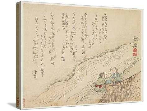 Two Women Pounding Silk, C.1854-59- Zengaku-Stretched Canvas Print