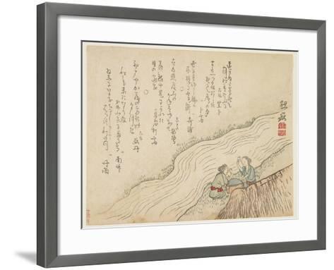 Two Women Pounding Silk, C.1854-59- Zengaku-Framed Art Print