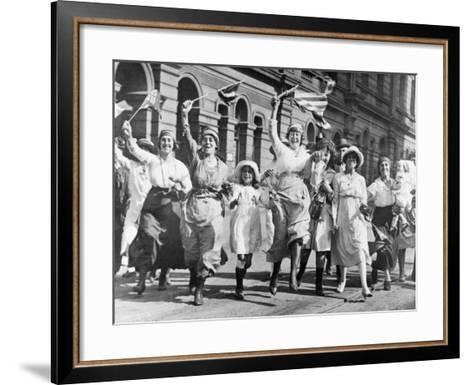 A Group of Women and Children Rejoicing in a Street in Sydney at the Signing of the Armistice--Framed Art Print