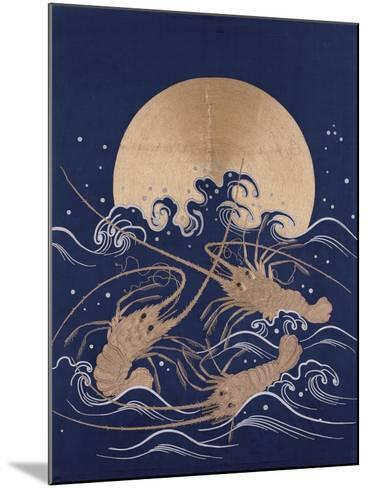 A Japanese Embroidered Textile Panel of Dark Blue Satin Depicting Three Crayfish Among Waves before--Mounted Giclee Print