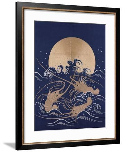 A Japanese Embroidered Textile Panel of Dark Blue Satin Depicting Three Crayfish Among Waves before--Framed Art Print