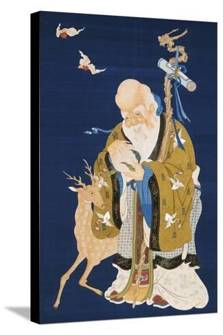 A Large Kesi Hanging Scroll Depicting Shoulao Holding a Peach--Stretched Canvas Print