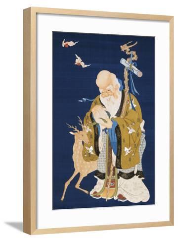 A Large Kesi Hanging Scroll Depicting Shoulao Holding a Peach--Framed Art Print