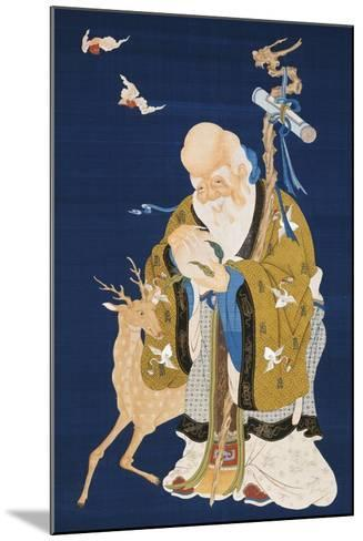 A Large Kesi Hanging Scroll Depicting Shoulao Holding a Peach--Mounted Giclee Print