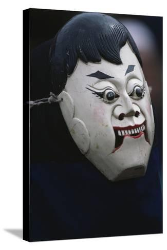 Actor Wearing Mask of Comic Character During Dixi Performance (Ground Opera)--Stretched Canvas Print