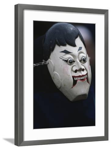 Actor Wearing Mask of Comic Character During Dixi Performance (Ground Opera)--Framed Art Print
