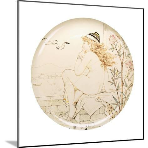 A Minton Art Pottery Studio Charger, Painted with a Nude Staring Out to Sea, 19th Century-William Stephen Coleman-Mounted Giclee Print