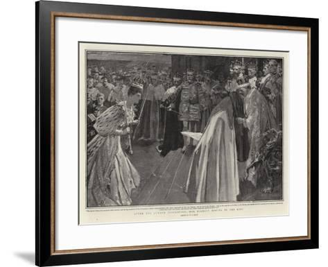 After the Queen's Coronation, Her Majesty Bowing to the King-William T^ Maud-Framed Art Print