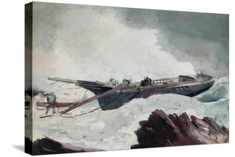 The Wrecked Schooner, C.1900-10-Winslow Homer-Stretched Canvas Print