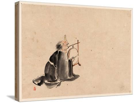 A Monk Wearing a Mask(?) with a Horn--Stretched Canvas Print