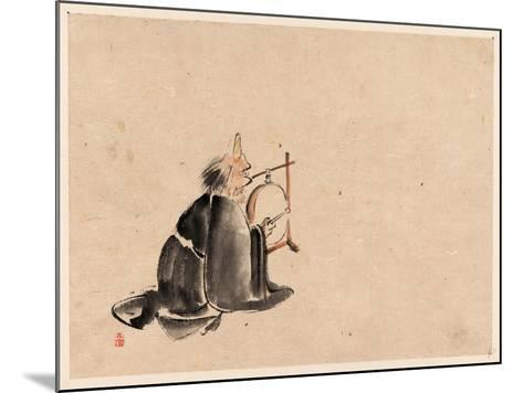 A Monk Wearing a Mask(?) with a Horn--Mounted Giclee Print