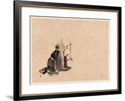 A Monk Wearing a Mask(?) with a Horn--Framed Art Print