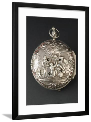 Bas-Relief Decoration on Back of Embossed Silver Carriage Clock Made by Joseph Spiegel and Signed b--Framed Art Print