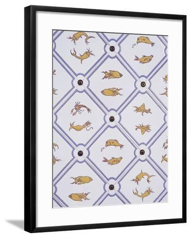 Bathroom Tiles with Marine Motifs--Framed Art Print