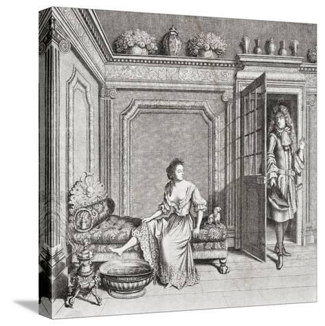 An 18th Century Lady Taking a Footbath Is Interrupted by a Suitor. from Illustrierte Sittengeschich--Stretched Canvas Print