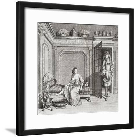 An 18th Century Lady Taking a Footbath Is Interrupted by a Suitor. from Illustrierte Sittengeschich--Framed Art Print