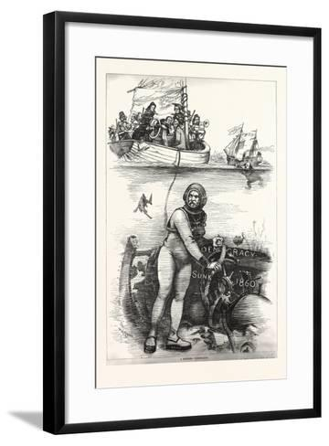 An Ancient Wreck. If I Only Had This Old Hulk Water Above the Water and on the White House Dry-Dock--Framed Art Print