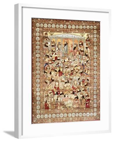 An Antique Kirman Masha'Ir Carpet--Framed Art Print