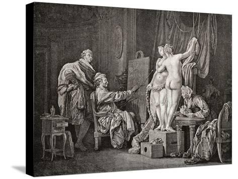 An Artist Painting from Life Using Two Models. after an from C.1770. from Illustrierte Sittengeschi--Stretched Canvas Print