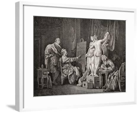 An Artist Painting from Life Using Two Models. after an from C.1770. from Illustrierte Sittengeschi--Framed Art Print