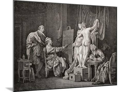 An Artist Painting from Life Using Two Models. after an from C.1770. from Illustrierte Sittengeschi--Mounted Giclee Print