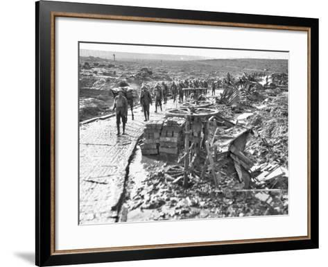 Australian Troops Passing Along the Track Leading to Idiot Corner--Framed Art Print
