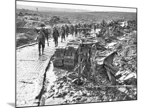 Australian Troops Passing Along the Track Leading to Idiot Corner--Mounted Photographic Print