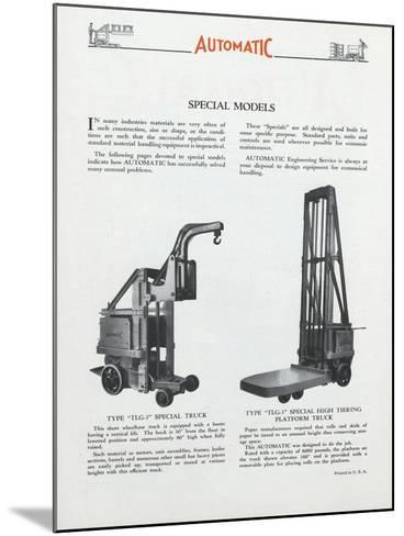 Automatic Transportation Company's Special Models of Automatic Units--Mounted Giclee Print