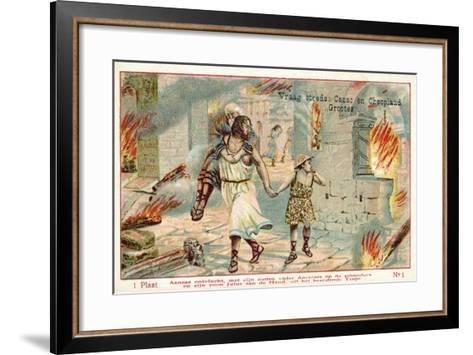 Aeneas Flees the Burning City of Troy--Framed Art Print
