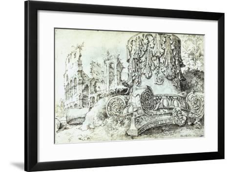 Capital with Colosseum in Background--Framed Art Print