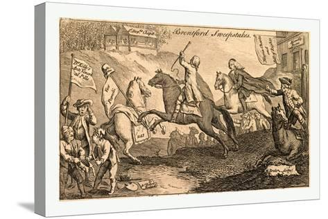 Brentford Sweepstakes. All Coursers the First Heat with Vigour Run. But 'Tis with Whip and Spur the--Stretched Canvas Print