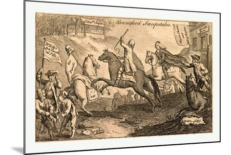 Brentford Sweepstakes. All Coursers the First Heat with Vigour Run. But 'Tis with Whip and Spur the--Mounted Giclee Print