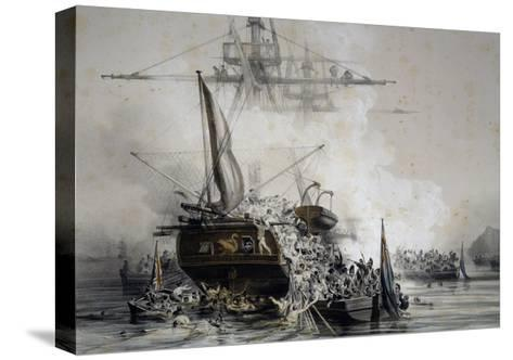 Brigantine Le Cygne Being Boarded by English Sailors--Stretched Canvas Print