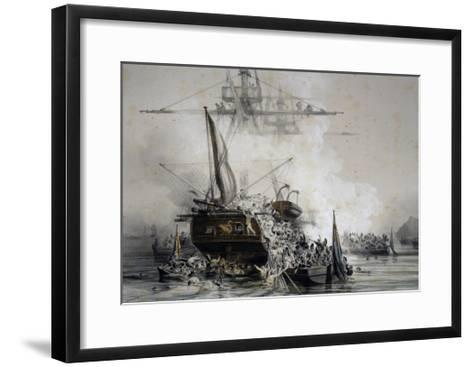Brigantine Le Cygne Being Boarded by English Sailors--Framed Art Print