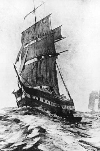 Brigantine Mary Celeste--Stretched Canvas Print