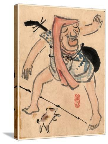 Caricature of Musician or Actor Dancing with a Cat at His Feet Ki--Stretched Canvas Print