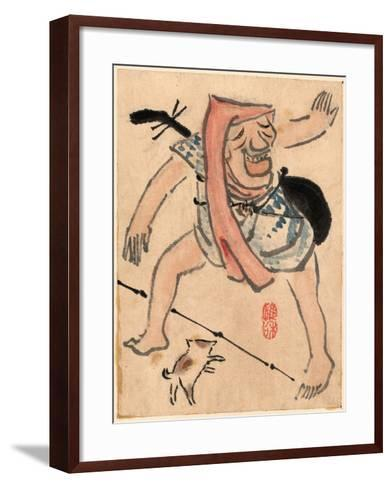 Caricature of Musician or Actor Dancing with a Cat at His Feet Ki--Framed Art Print