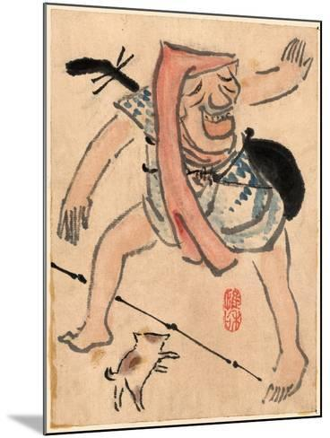 Caricature of Musician or Actor Dancing with a Cat at His Feet Ki--Mounted Giclee Print