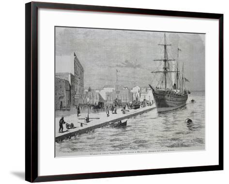 British Merchant Ship Simla Arriving at the Port of Brindisi--Framed Art Print