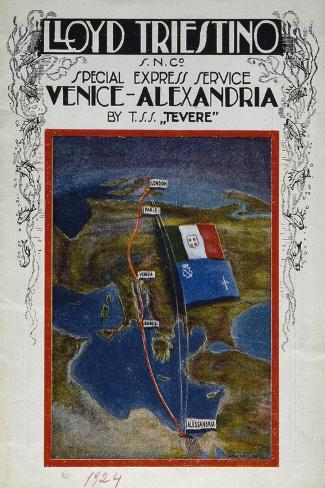 Brochure for Venice to Alexandria Cruise on Board Lloyd Company Ship--Stretched Canvas Print