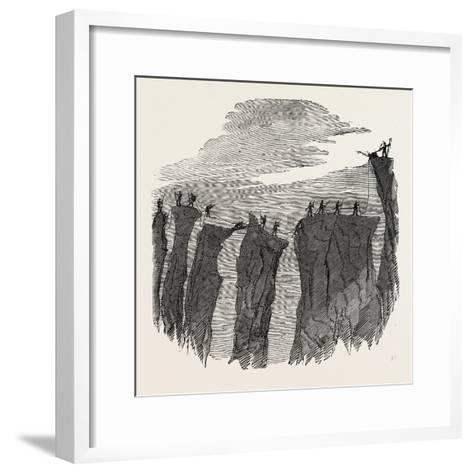 Climbing the Mont Blanc: the Party Crossing the Glacier Des Bossons--Framed Art Print