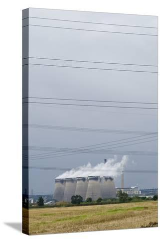 Cooling Towers and Overhead Power Lines in Rural Landscape--Stretched Canvas Print