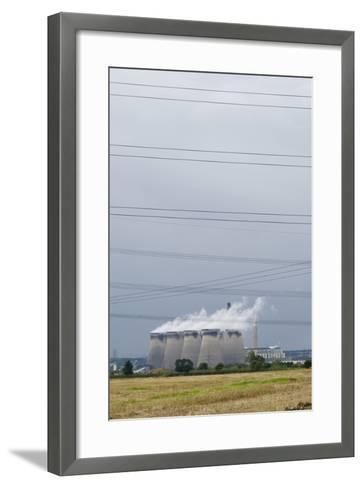 Cooling Towers and Overhead Power Lines in Rural Landscape--Framed Art Print
