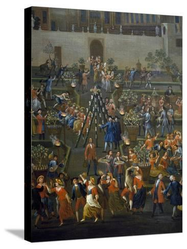 Feast for Return of Mozzatore in Garden of Palazzo Rospigliosi at Esquiline--Stretched Canvas Print
